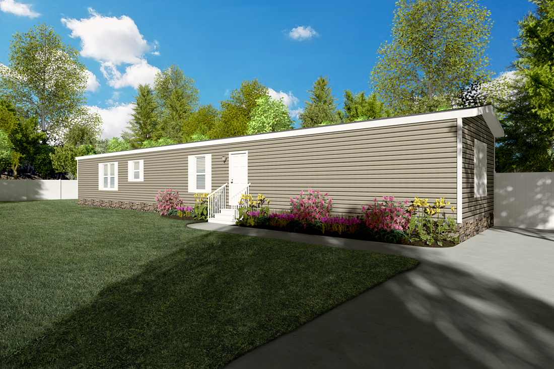 The SMART BUY 16763H Exterior. This Manufactured Mobile Home features 3 bedrooms and 2 baths.