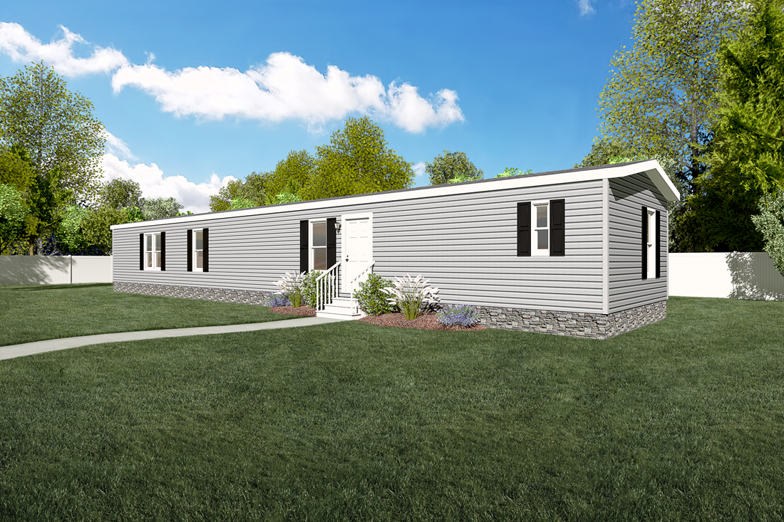The SMART BUY 16764F Exterior. This Manufactured Mobile Home features 4 bedrooms and 2 baths.