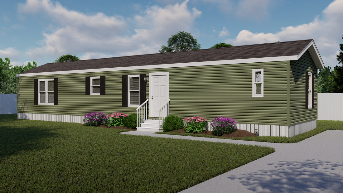 The SMART BUY 16603B Exterior. This Manufactured Mobile Home features 3 bedrooms and 2 baths.