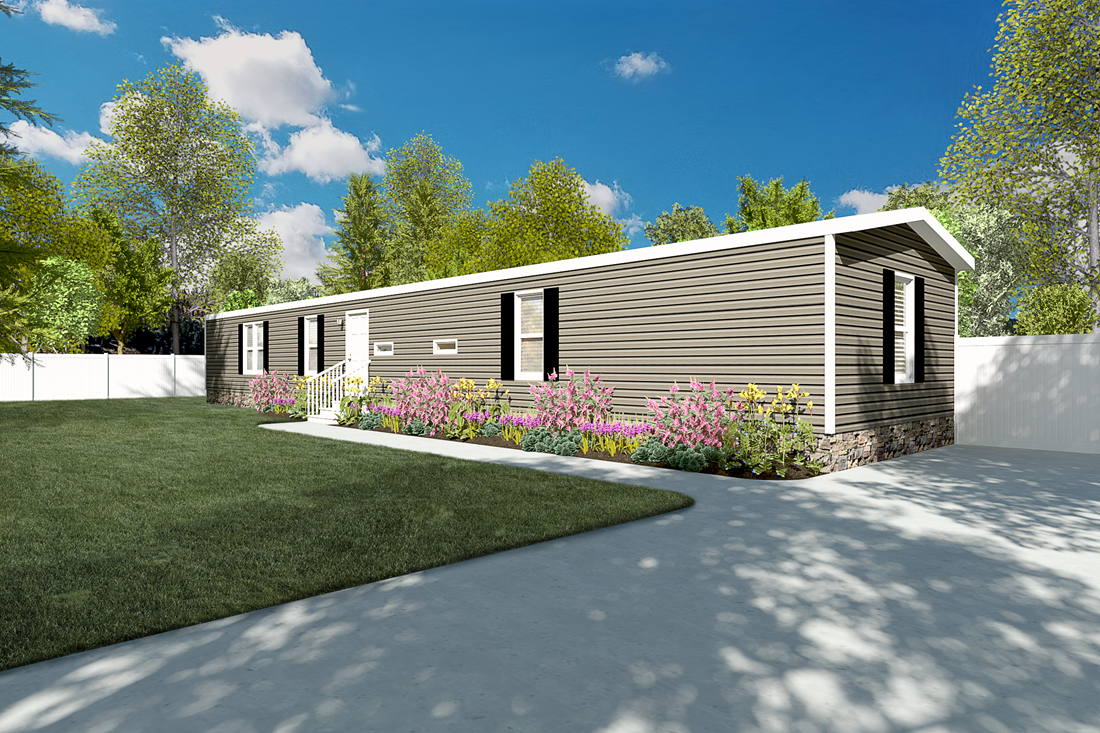 The RESOLUTION 16763B Exterior. This Manufactured Mobile Home features 3 bedrooms and 2 baths.