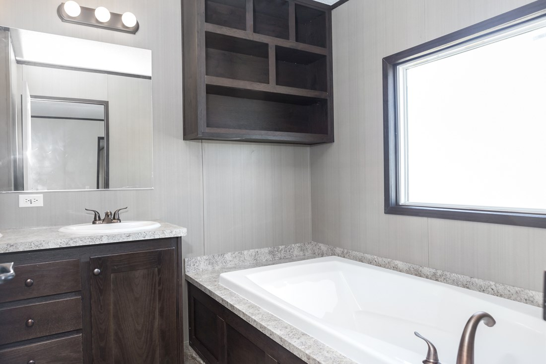 The RESOLUTION 16763B Master Bathroom. This Manufactured Mobile Home features 3 bedrooms and 2 baths.