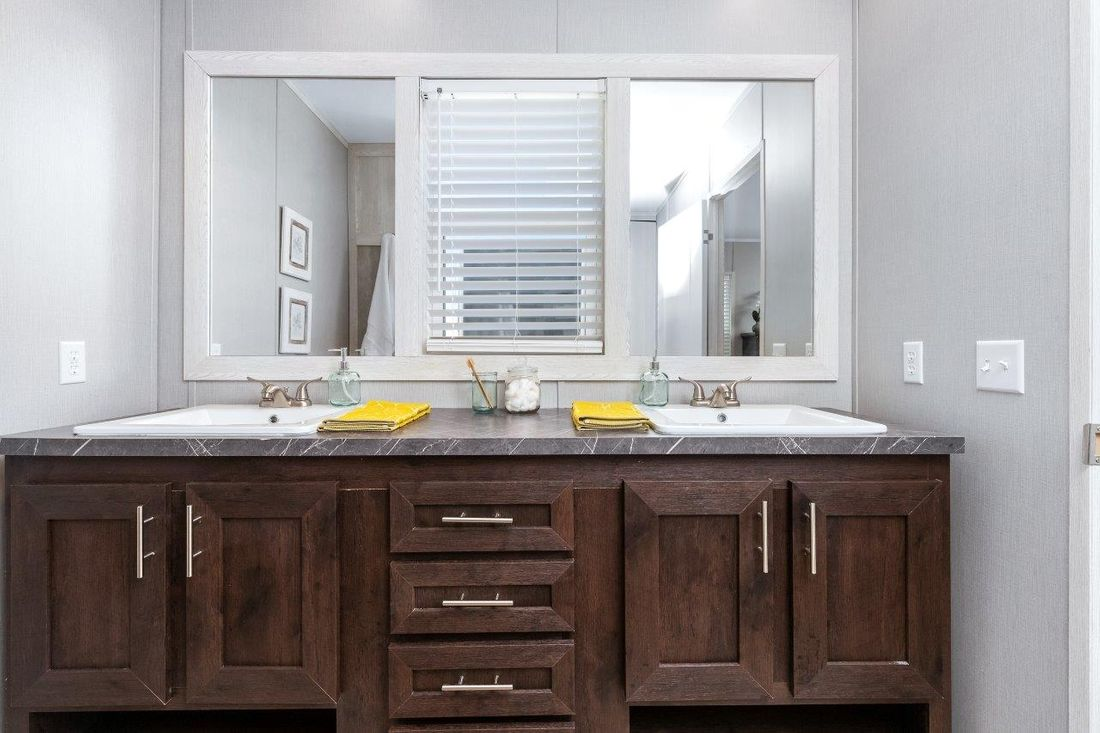 The INSPIRATION 16662A Master Bathroom. This Manufactured Mobile Home features 2 bedrooms and 2 baths.