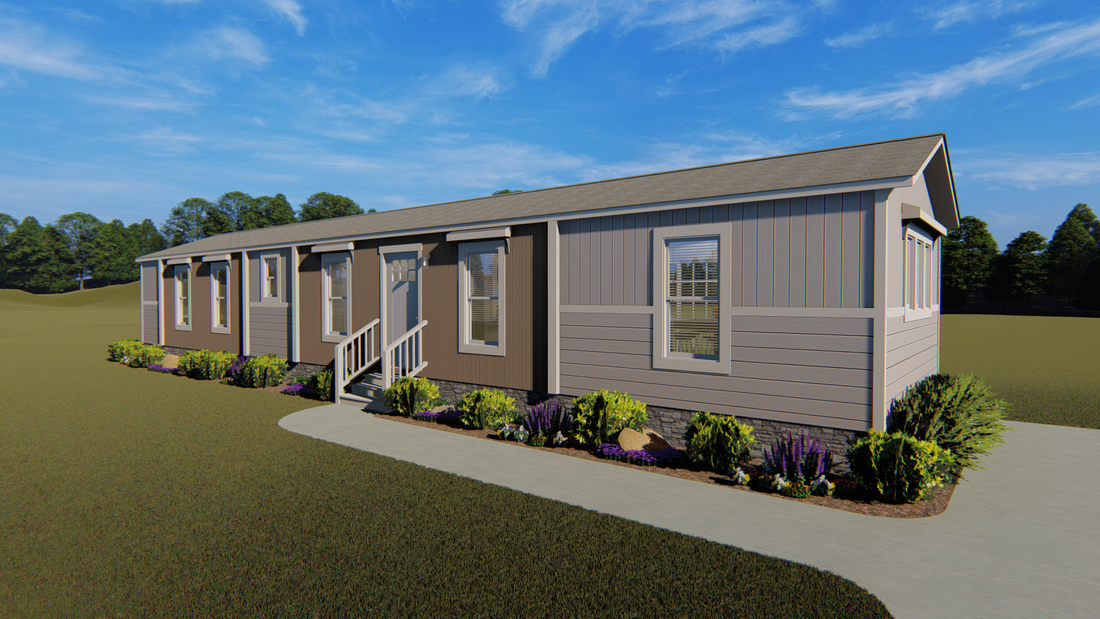 The INSPIRATION 16662A Exterior. This Manufactured Mobile Home features 2 bedrooms and 2 baths.