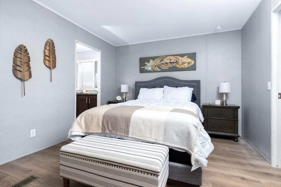 The INSPIRATION 16662A Master Bedroom. This Manufactured Mobile Home features 2 bedrooms and 2 baths.