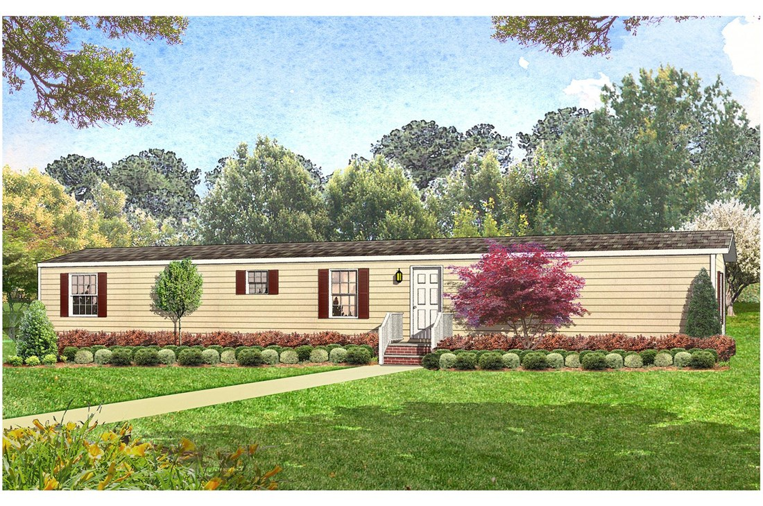 The SMART BUY 16683A Exterior. This Manufactured Mobile Home features 3 bedrooms and 2 baths.